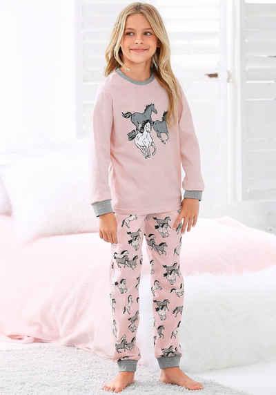 petite fleur Pyjama in langer Form mit Pferde Print