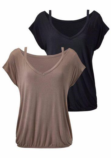 LASCANA Shirts (2 Stück) mit femininem Ausschnitt