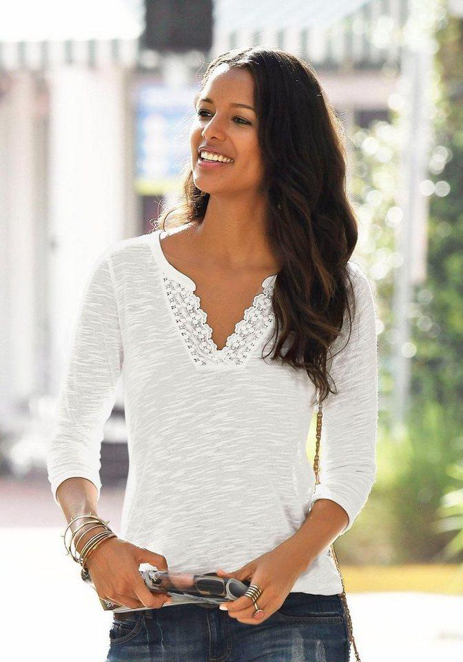 069e963ddc2074 LASCANA Shirt mit Spitze am Ausschnitt kaufen