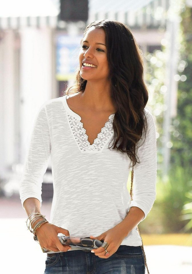 good texture buy popular new style LASCANA Shirt mit Spitze am Ausschnitt kaufen | OTTO