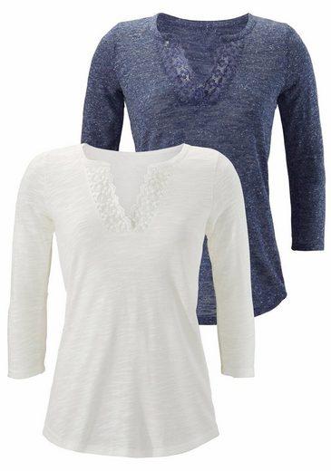 LASCANA Shirt (2 Stück) mit Spitze am Ausschnitt im 2er Sparpack