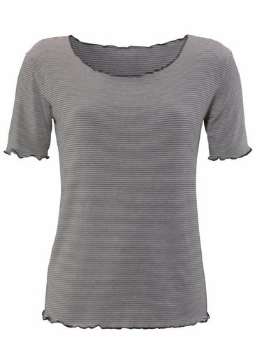LASCANA T-Shirt mit feinen Wellensaum