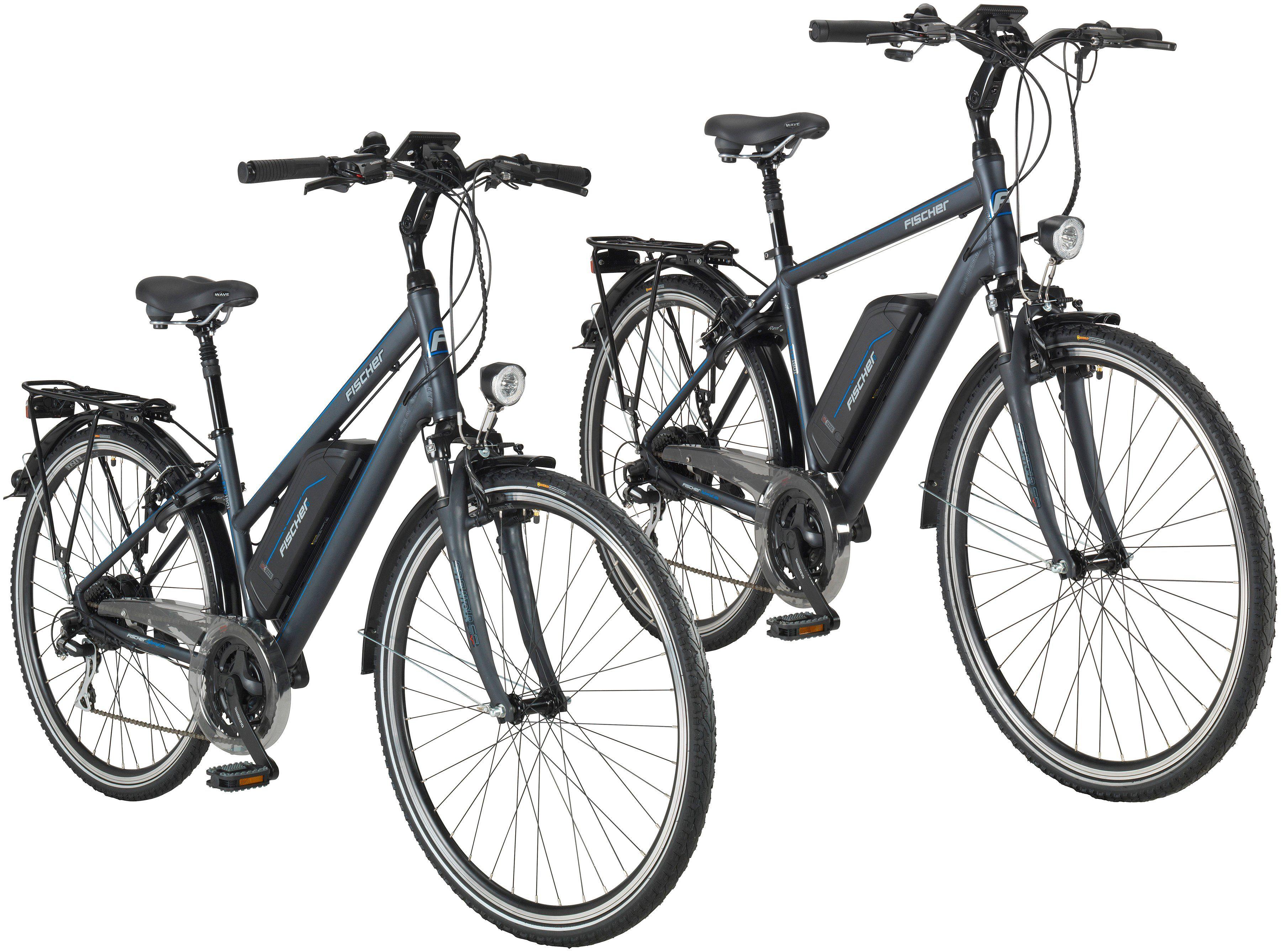 FISCHER FAHRRAEDER Set: E-Bike City »ETD/ETH-1801«, 28 Zoll, 24 Gänge, 396 Wh, Damen + Herren
