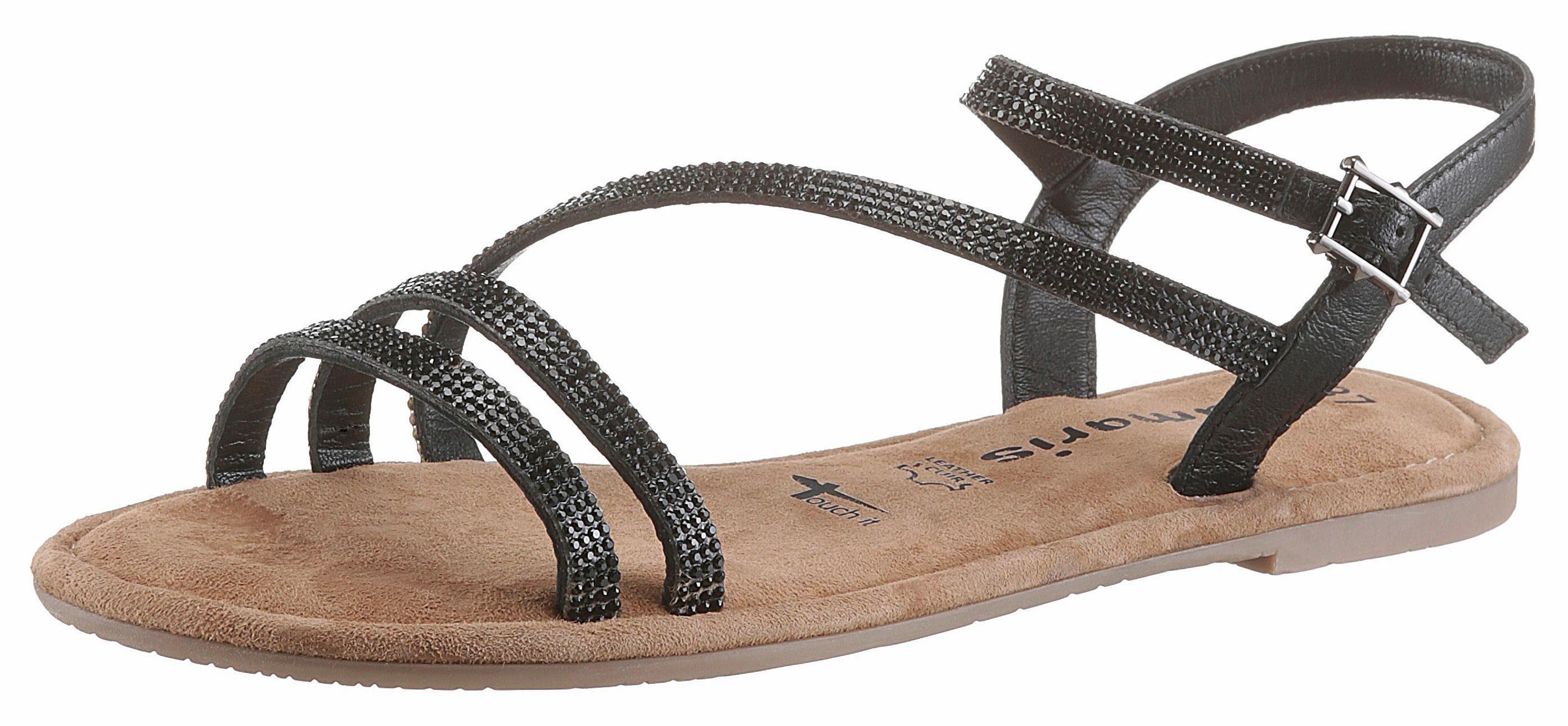 Tamaris Sandale, mit Glitzer-Riemchen, schwarz, schwarz