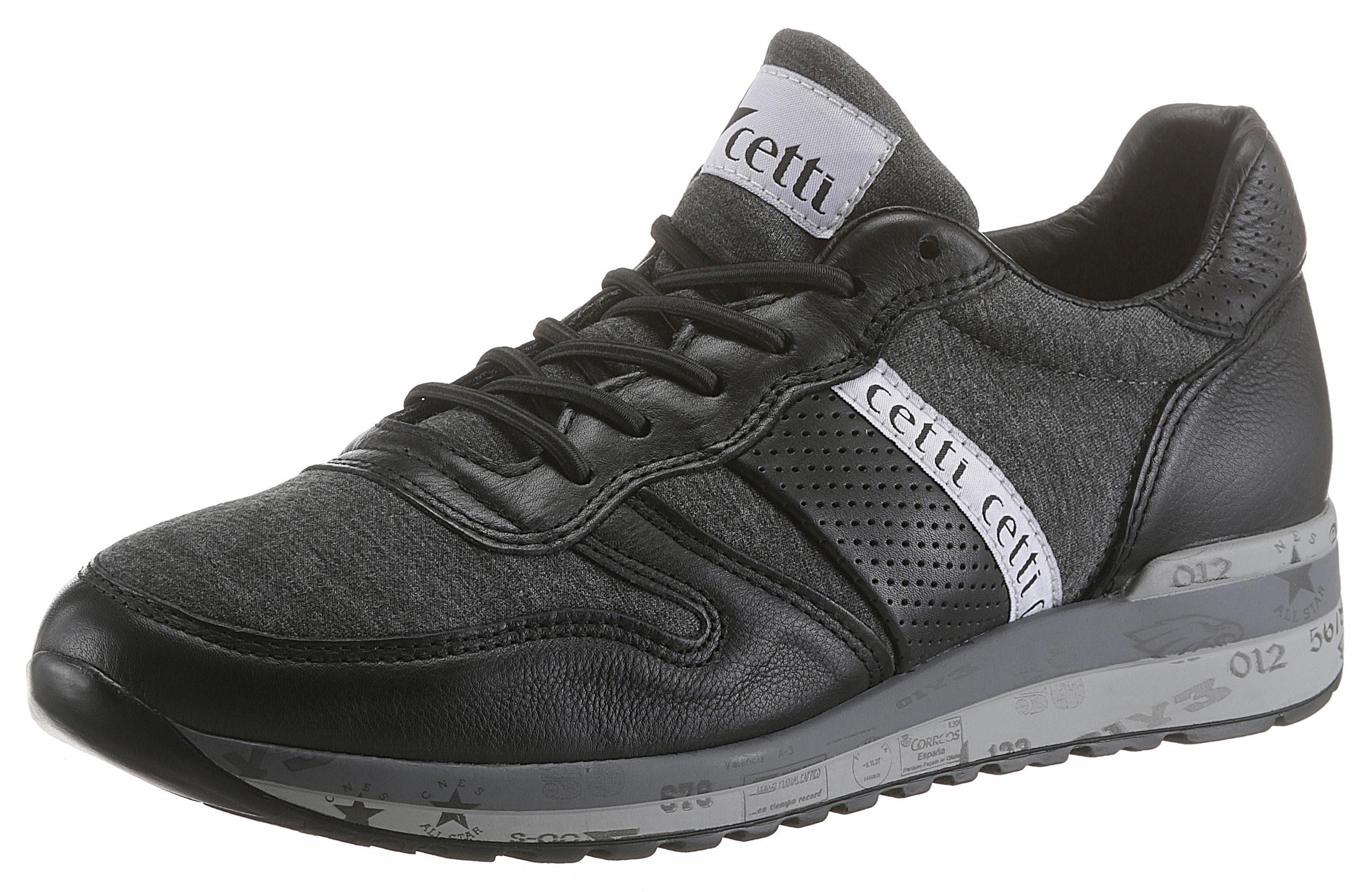 Cetti Sneaker, mit verzierter Sohle, schwarz, 43 43