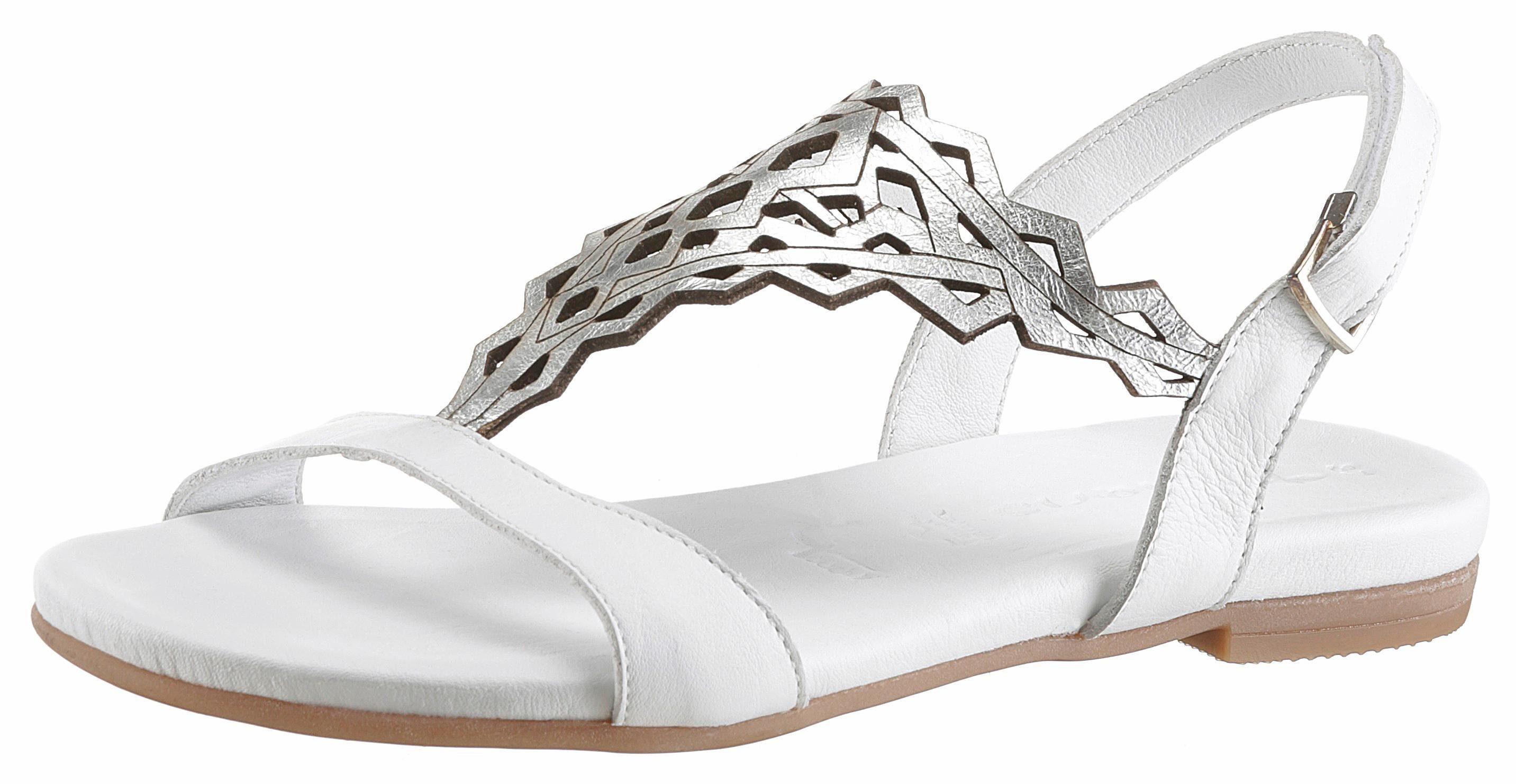 Tamaris Sandale, mit trendigem Lasercut kaufen  weiß-silberfarben