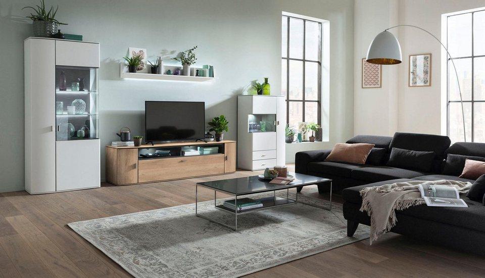 gallery m wohnwand 4 tlg malta typ 01 in moderner farbkombi weiss eiche dunkel online kaufen. Black Bedroom Furniture Sets. Home Design Ideas