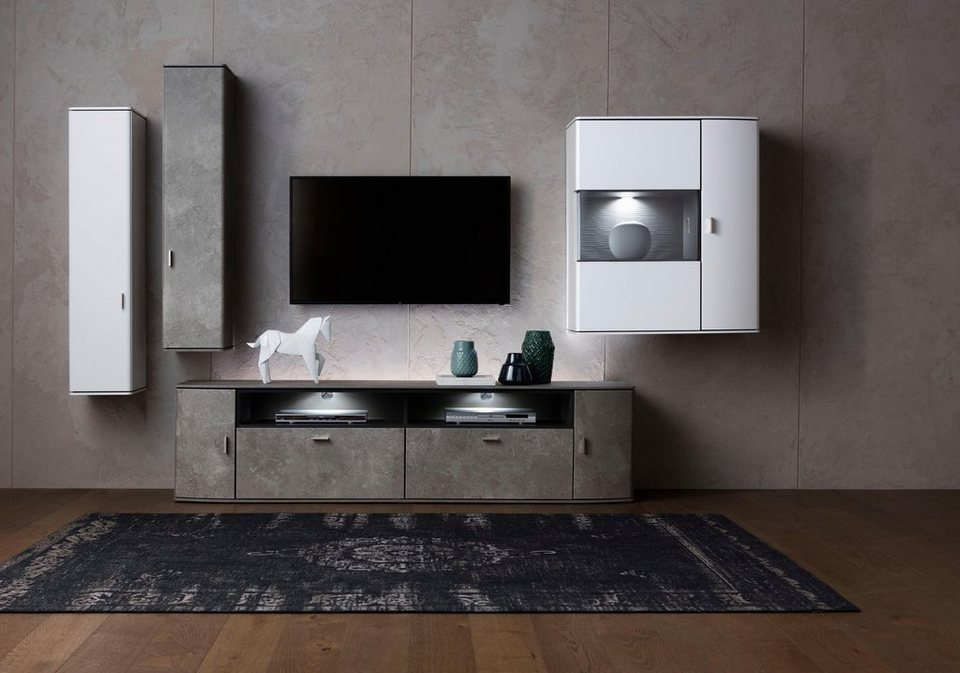 gallery m wohnwand 4 tlg malta typ 28 tolle kombi aus betonoptik und wei online kaufen otto. Black Bedroom Furniture Sets. Home Design Ideas