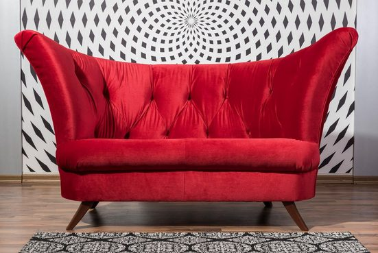 Max Winzer® Chesterfield-Sofa »Donny«, 2-Sitzer mit Knopfheftung, in geschwungener Form