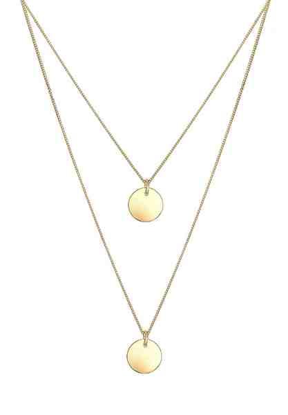 Elli Halskette »2-lagig Layer Kreis Geo 925 Sterling Silber«