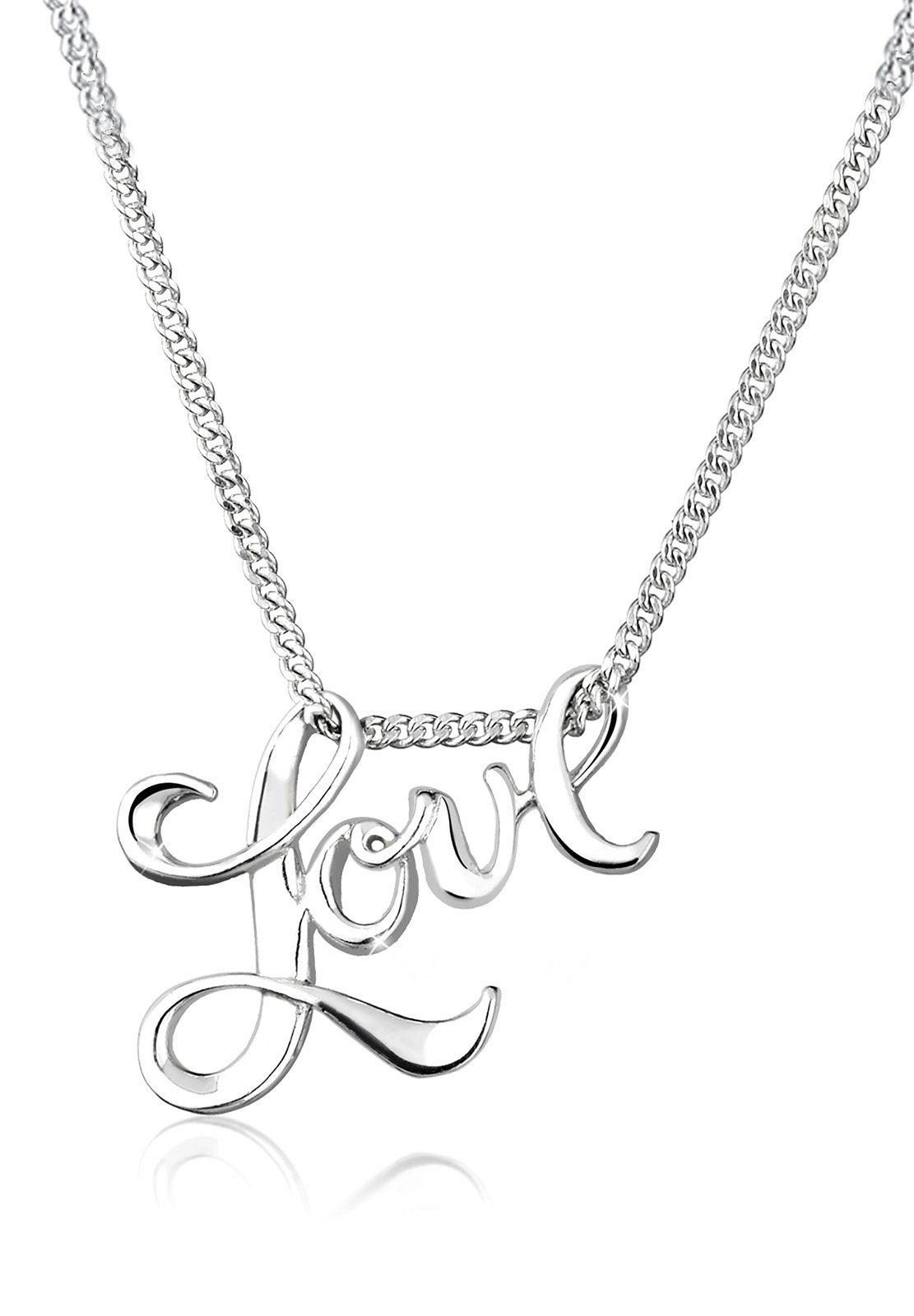 Elli Halskette »Love Liebe Schriftzug Wording 925 Sterling Silber«