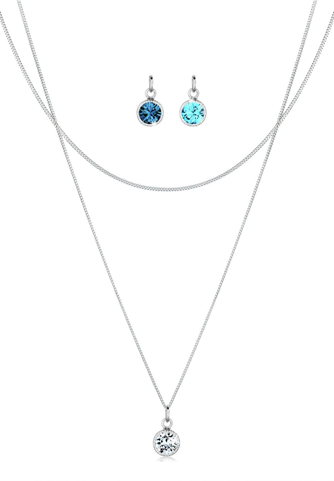 Elli Set: Halskette »Anhänger-Set Swarovski Kristalle 925 Silber« 3 tlg.