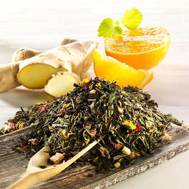 Rauf Tee Rauf Tee aromatisierter grüner Tee Ingwer-Orange