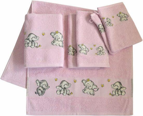 Dyckhoff Handtuch Set »Elefant 2« (Set, 6-tlg), mit feiner Bordüre und Elefanten Motiv