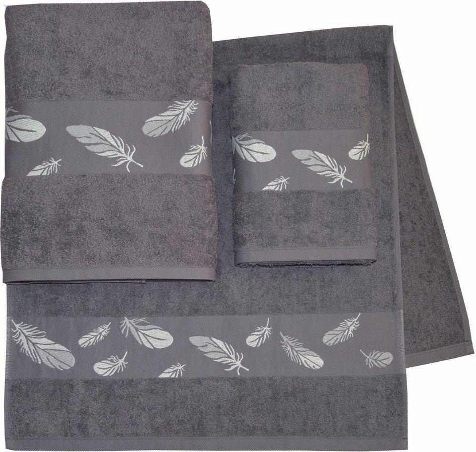 handtuch set dyckhoff feder mit sch ner bord re und. Black Bedroom Furniture Sets. Home Design Ideas