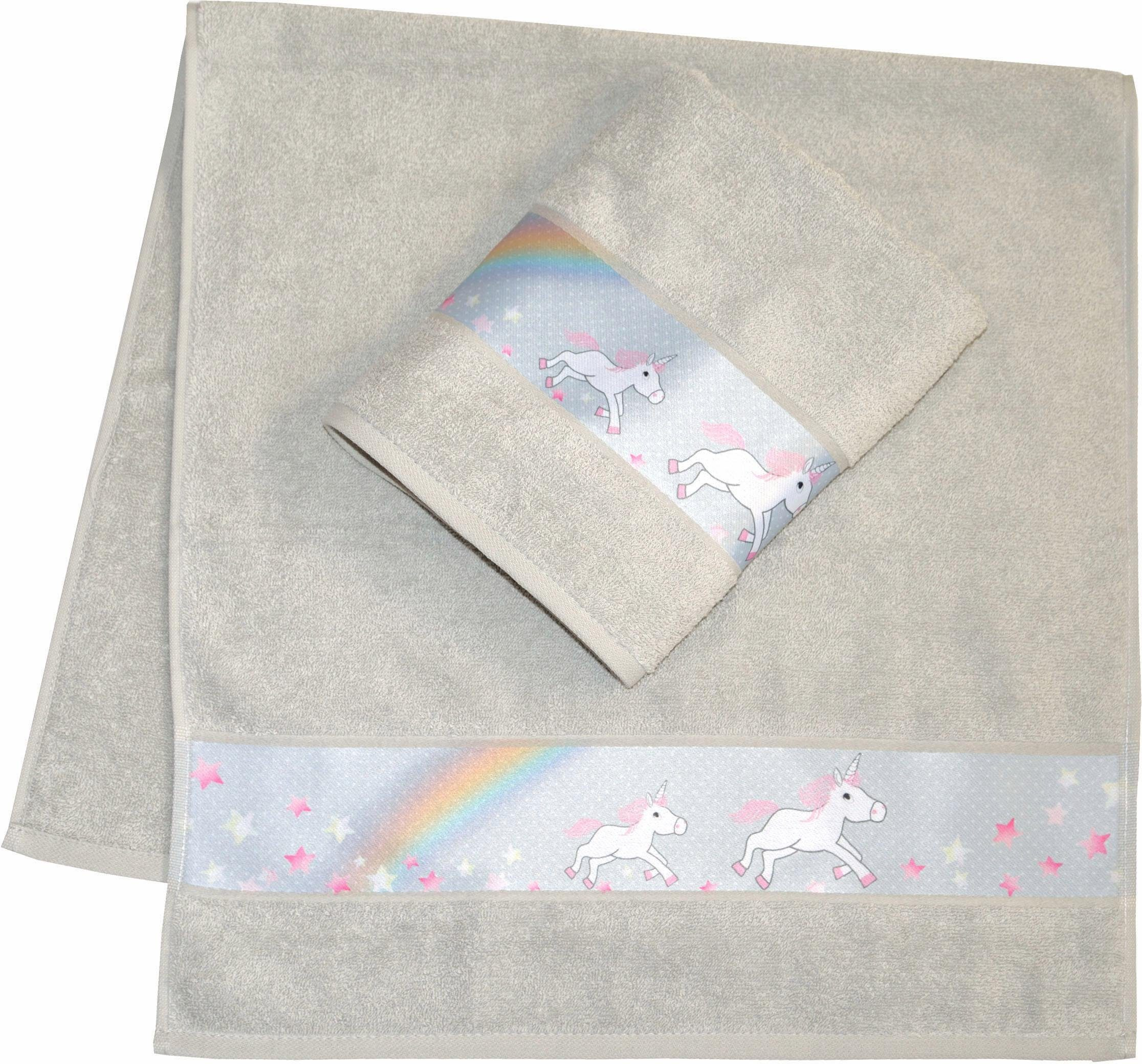 Handtücher, Dyckhoff, »Einhorn«, mit feiner Bordüre und Einhorn Motiv