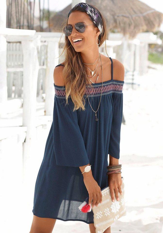 Damen s.Oliver Beachwear Strandkleid aus gewebter Viskose blau, schwarz   08907682015501
