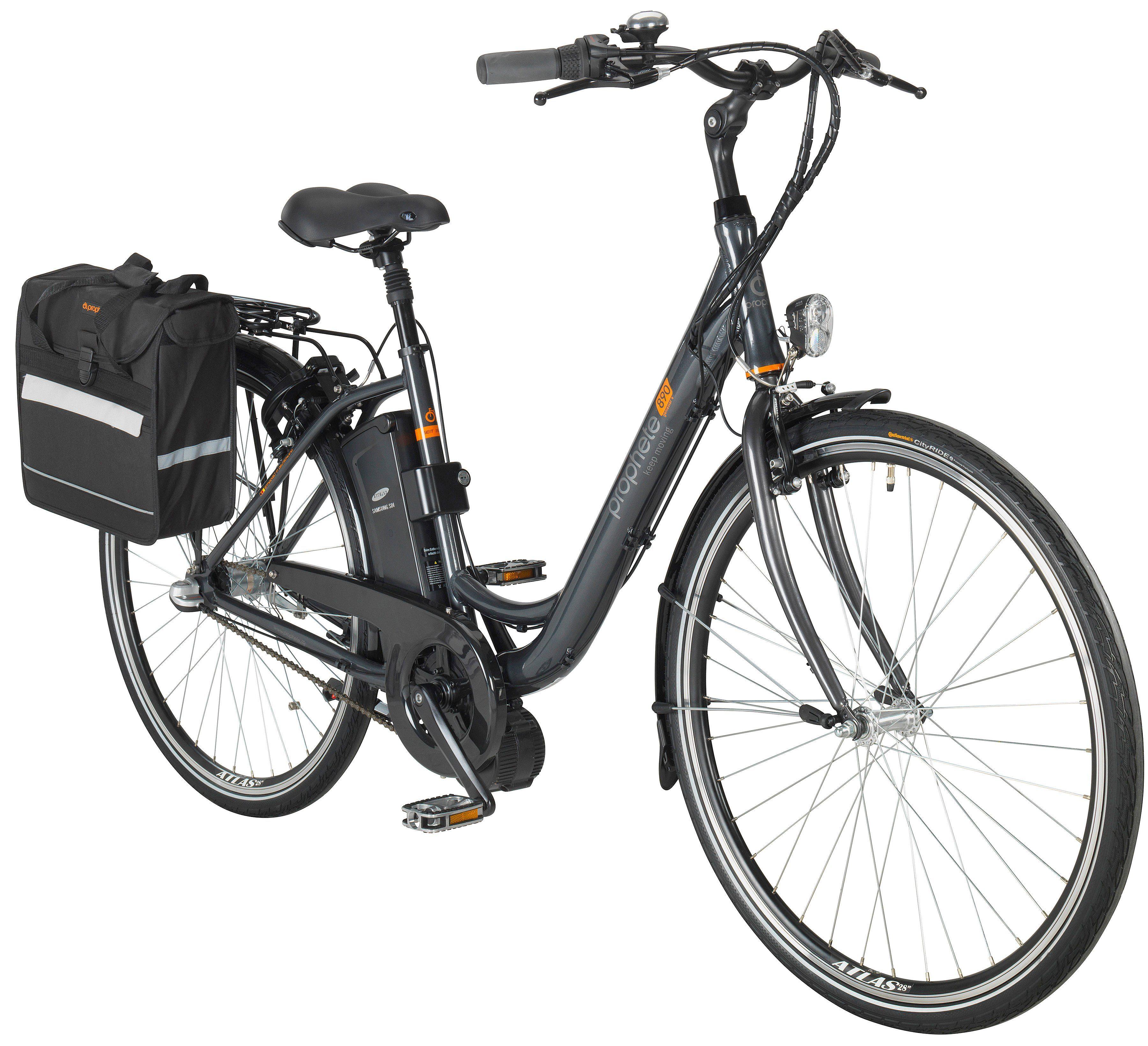PROPHETE Komplett-Set: E-Bike City Damen »GENIESSER e890«, 28 Zoll, 3-Gang, Mittelmotor, 374 Wh