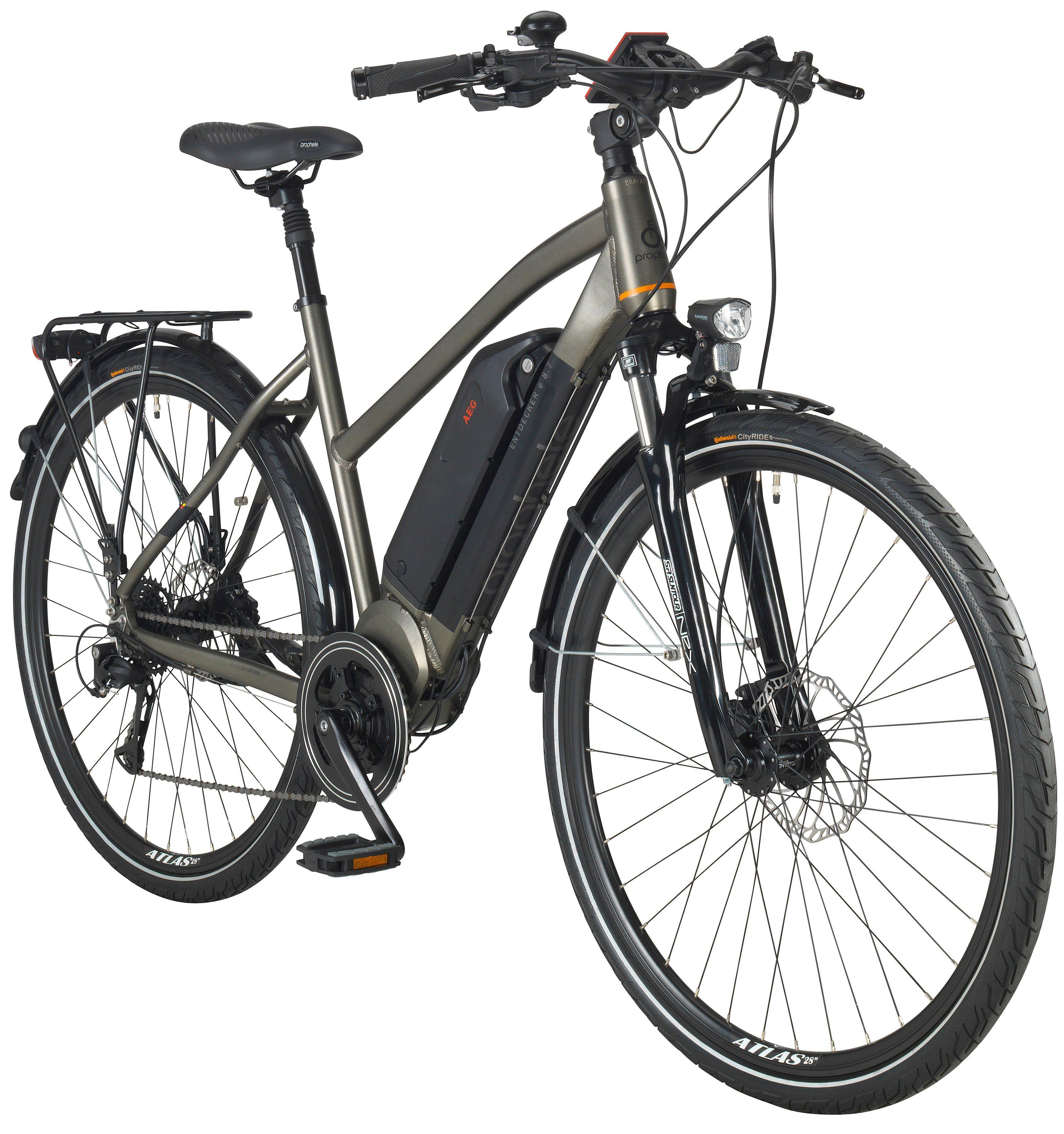 PROPHETE E-Bike Trekking Damen »ENTDECKER e8.7«, 28 Zoll, 8-Gang, AEG-Mittelmotor, 374 Wh