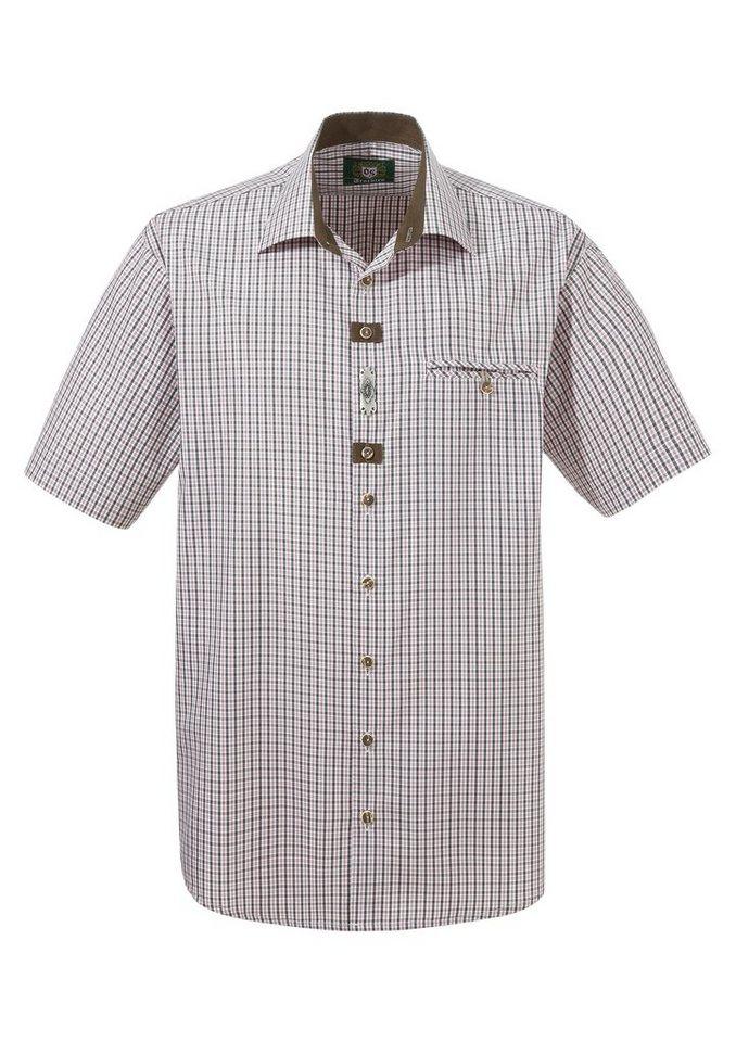 Herren OS-Trachten Trachtenhemd in frischer Farbkombination grün   04006109137728