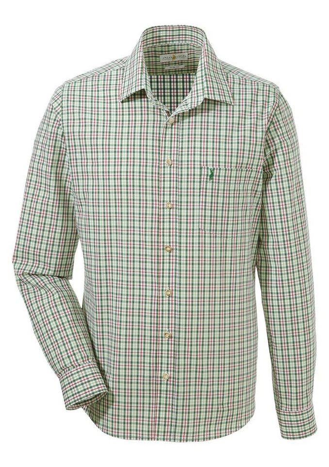 Almsach Trachtenhemd mit kleiner Hirschstickerei | Bekleidung > Hemden > Trachtenhemden | Grün | Almsach