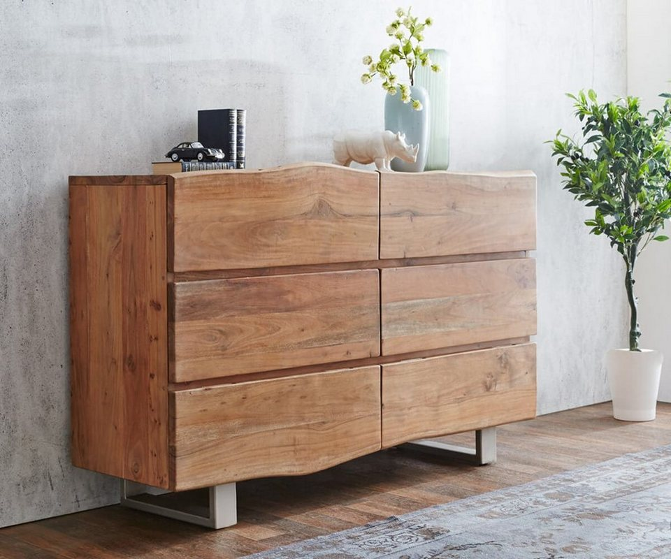 delife kommode live edge akazie natur 148 cm otto. Black Bedroom Furniture Sets. Home Design Ideas