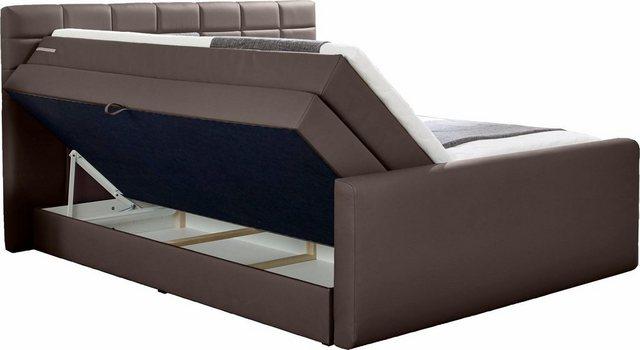 INOSIGN Boxspringbett »Lethbridge«, mit Bettkasten, wahlweise in Überlänge 220 cm | Schlafzimmer > Betten > Boxspringbetten | Braun | INOSIGN