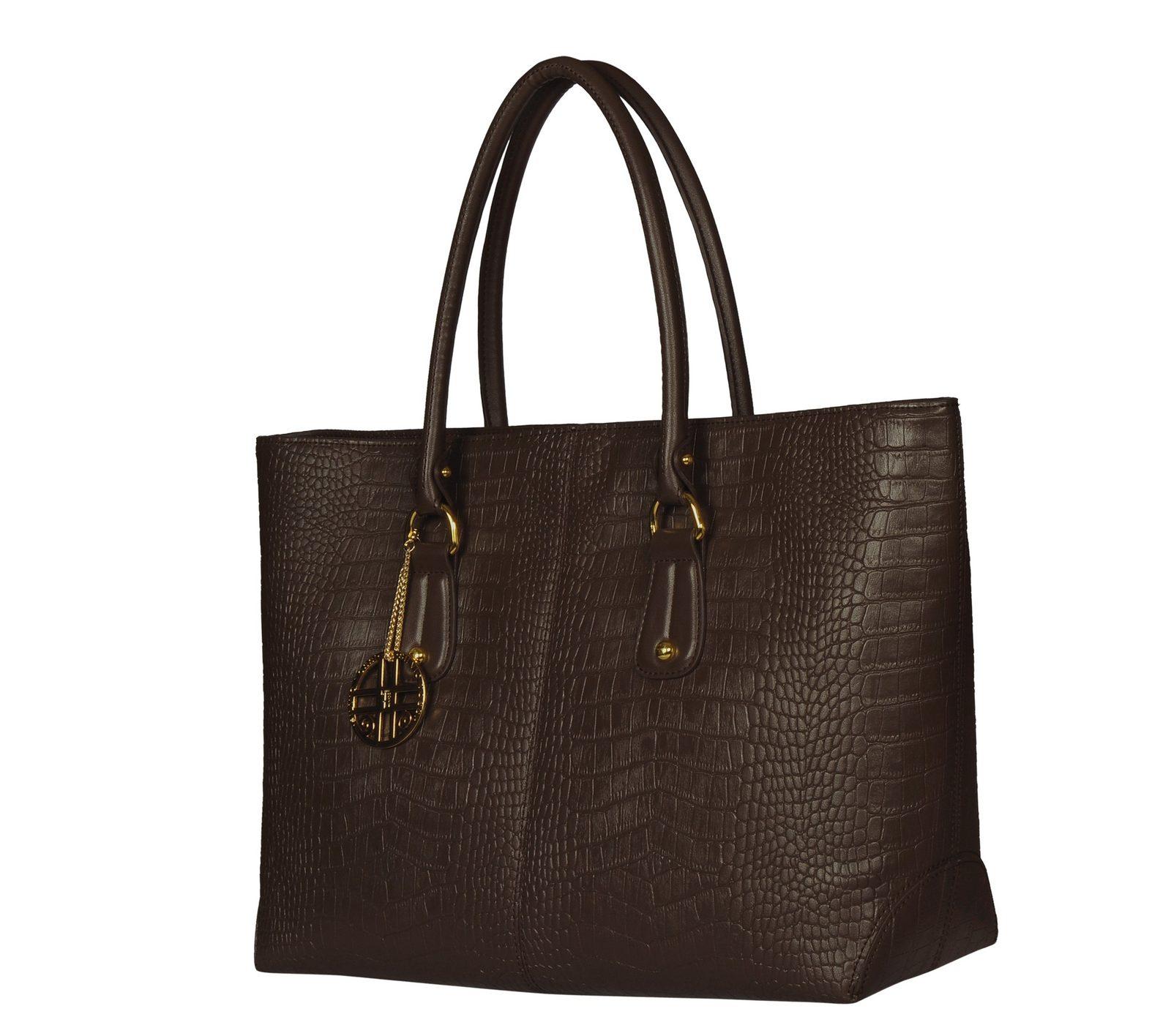 Silvio Tossi Handtasche im Krokodil-Design mit Markenanhänger - broschei