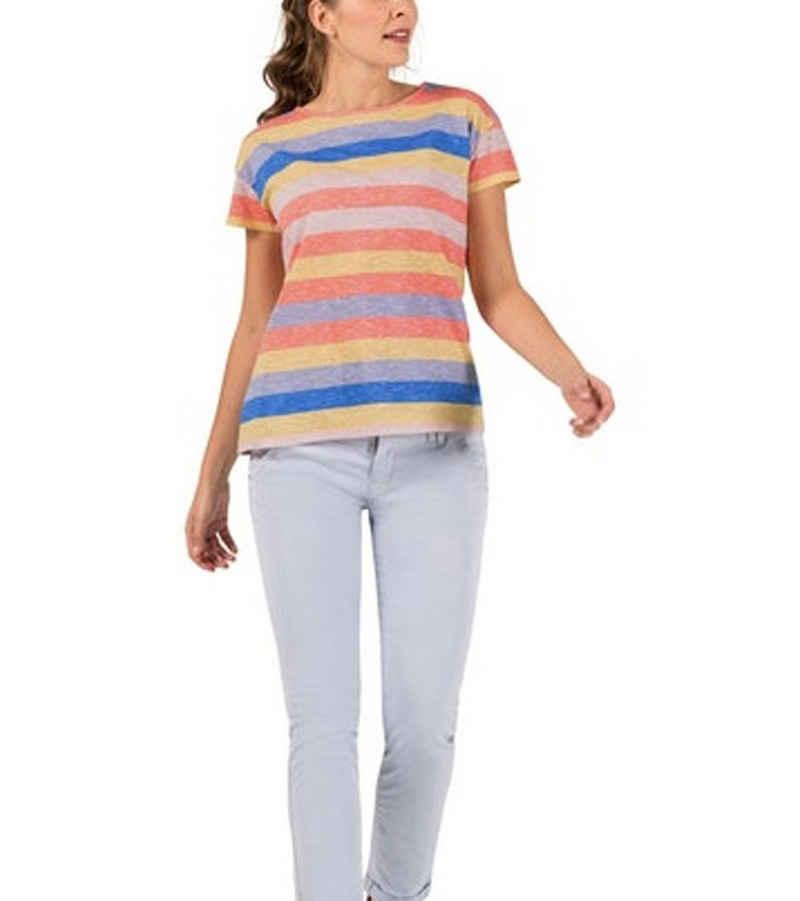 TIMEZONE T-Shirt »TIMEZONE Striped T-Shirt sommerliches Damen Kurzarm-Shirt Baumwoll-Shirt mit Logo-Print Bunt«