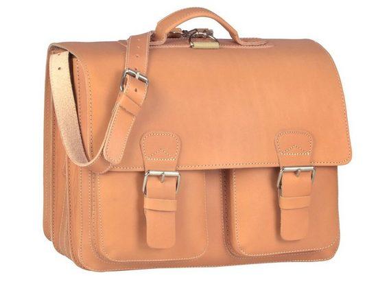 Ruitertassen Aktentasche »Classic Satchel«, 42 cm Lehrertasche mit 3 Fächern, auch als Rucksack zu tragen, dickes rustikales Leder