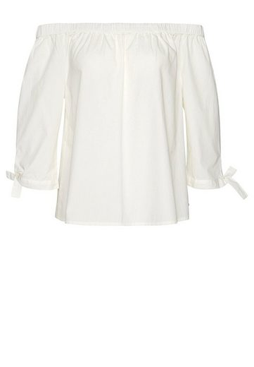 Tom Tailor Denim Shirt Blouse Carmen-blouse With Knot-detail