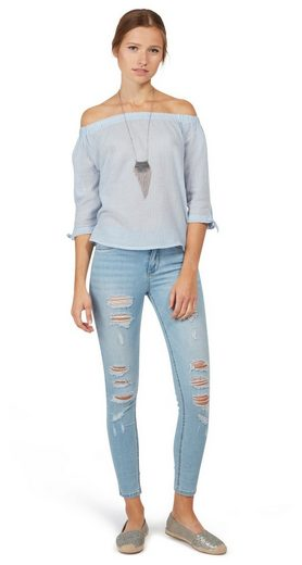 Tom Tailor Denim Shirtbluse gestreifte Carmen-Bluse