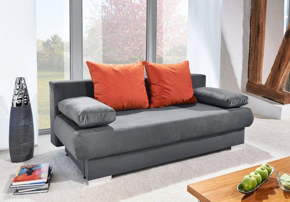inosign schlafsofa fredericton mit bettfunktion und bettkasten mit r ckenkissen in. Black Bedroom Furniture Sets. Home Design Ideas