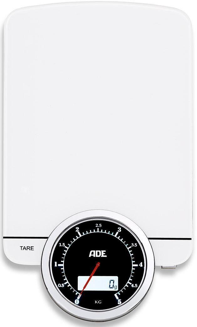 ADE Digitale Küchenwaage KE 1500 - Alba, Modern Times - Küchenwaage mit Gewichtsanzeige im Dual-Display mit analogem Ziffernblatt und digitalem Display
