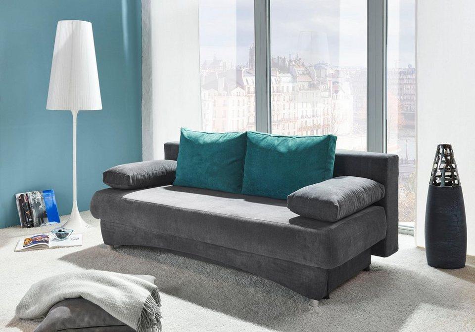 inosign schlafsofa brampton mit bettfunktion und bettkasten mit r ckenkissen in kontrastfarbe. Black Bedroom Furniture Sets. Home Design Ideas