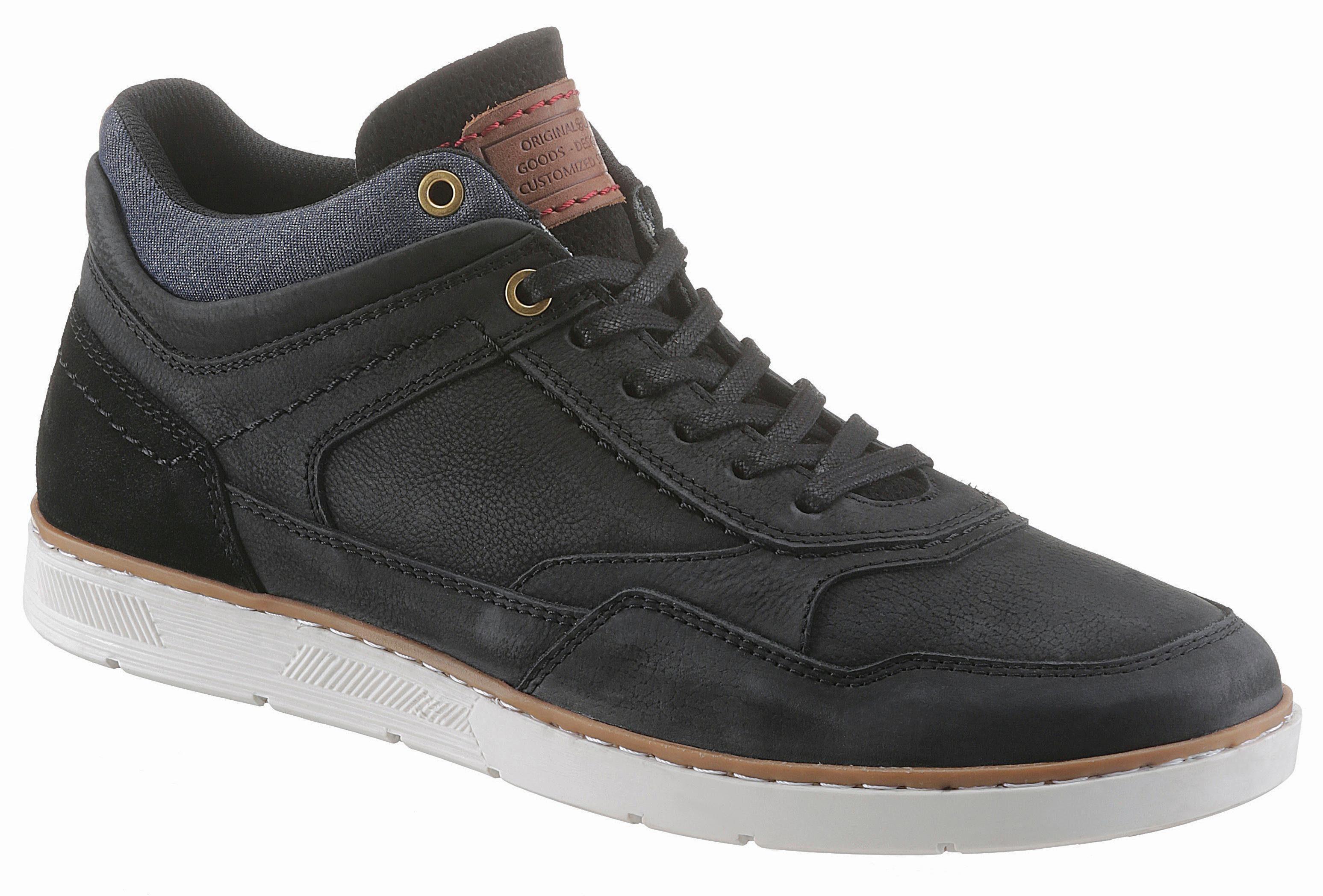 PETROLIO Sneaker, mit stylischem Jeans-Einsatz  schwarz-used