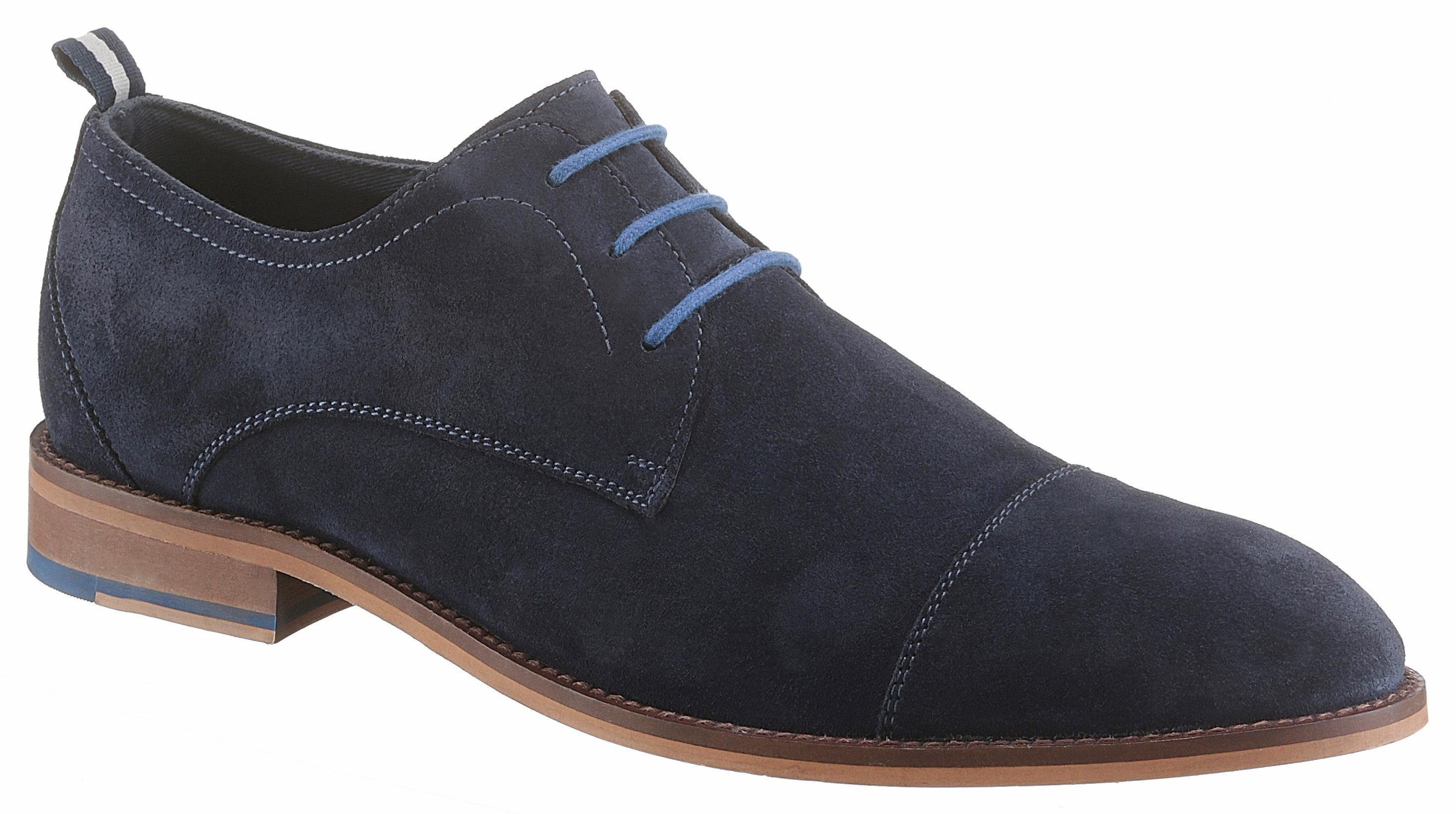 PETROLIO Schnürschuh, mit modischer Quernaht, blau, 44 44