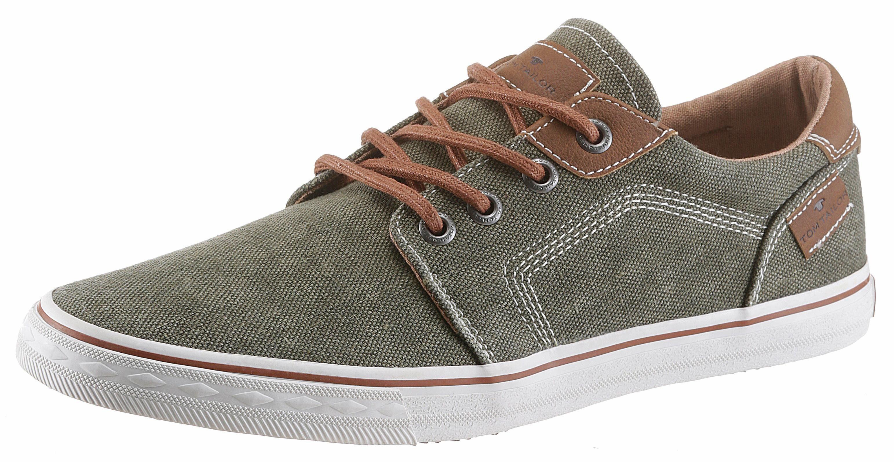 Tom Tailor Sneaker, mit modischem Lederimitat-Einsatz online kaufen  khaki
