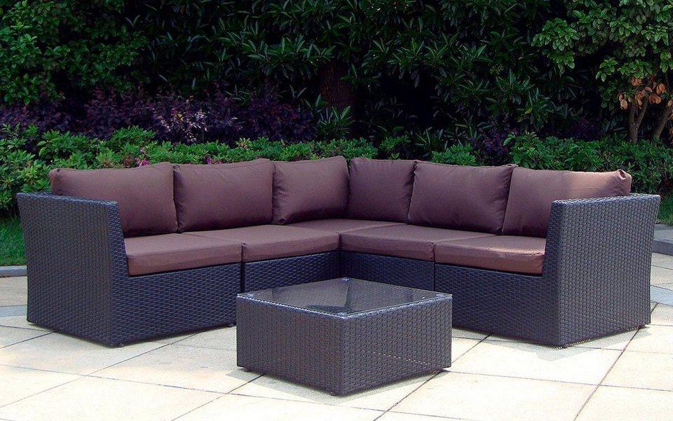 baidani loungeset atmosphere 17 tlg ecklounge tisch 60x60 cm polyrattan inkl auflagen. Black Bedroom Furniture Sets. Home Design Ideas