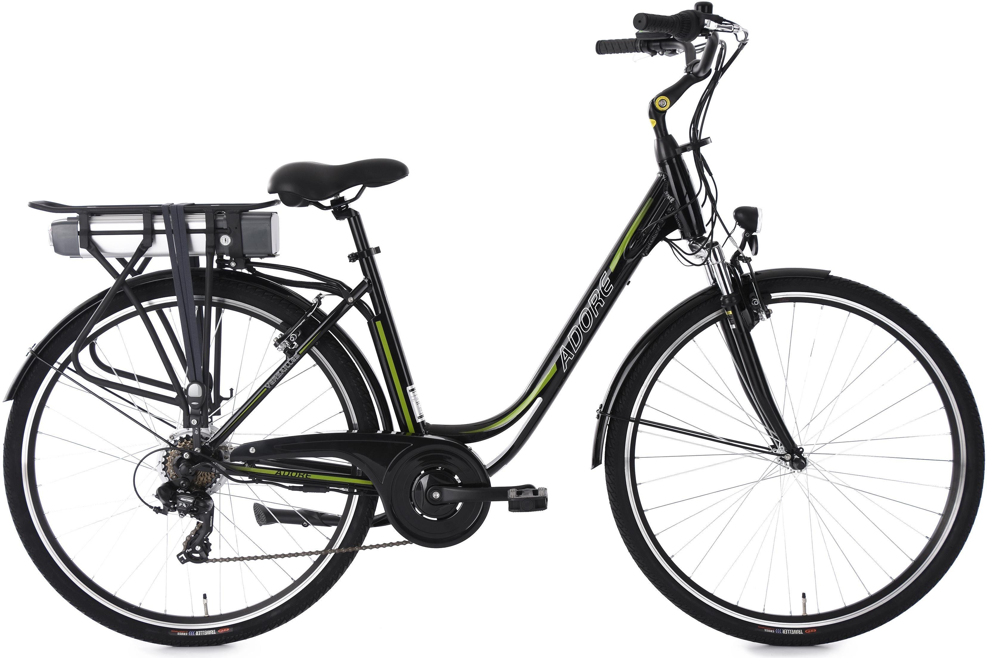 Adore Damen-E-Bike City, 28 Zoll, 7 Gänge, 250 Watt Li-Ion, 36V/10,4 Ah, schwarz-grün, »Versailles«