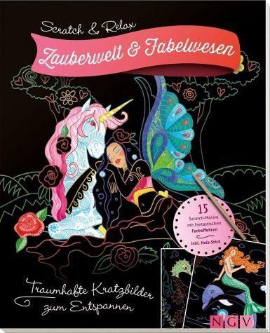Broschiertes Buch »Scratch & Relax: Zauberwelt & Fabelwesen«