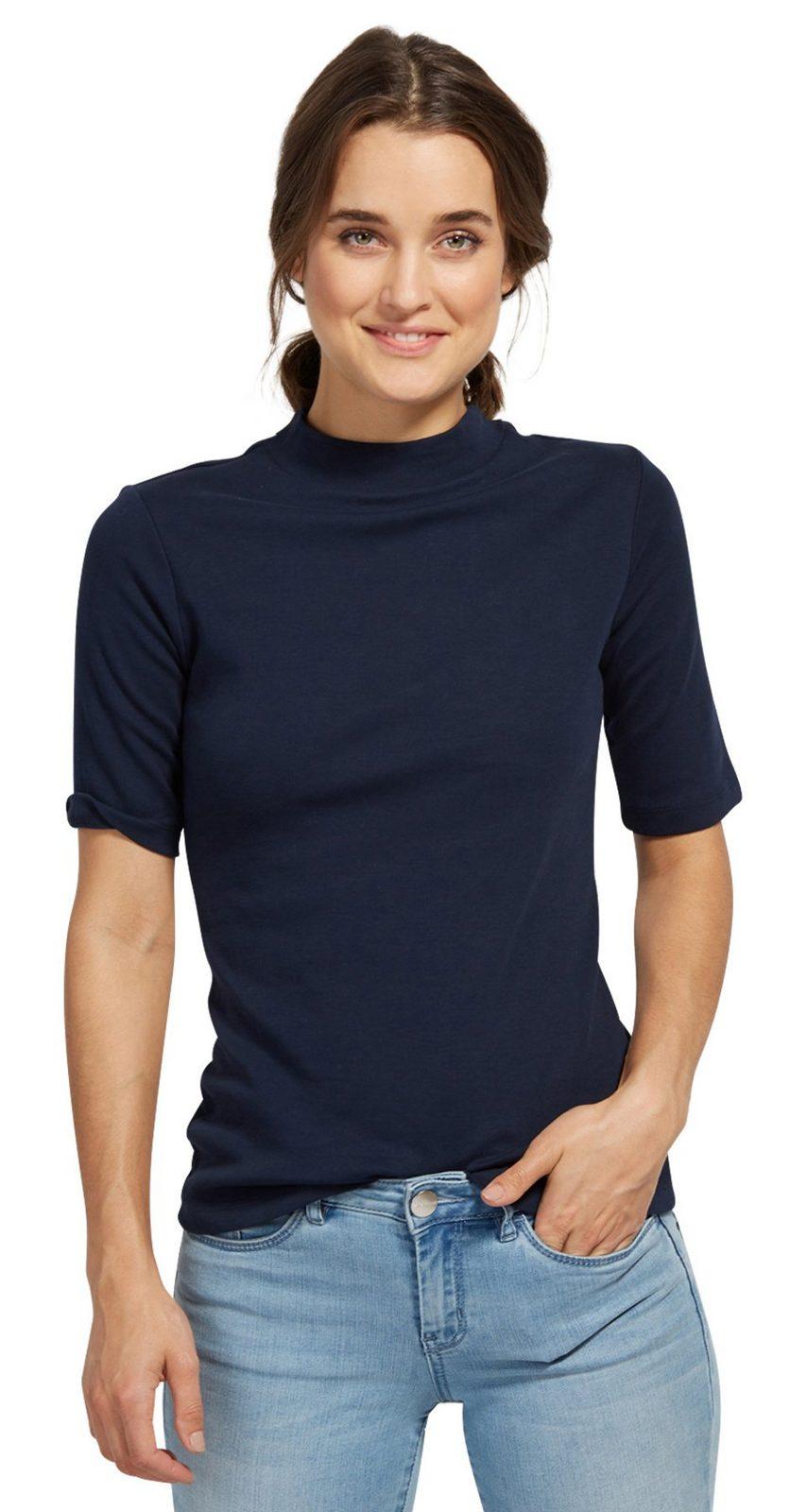 Tom Tailor T-Shirt »mit Stehkragen«