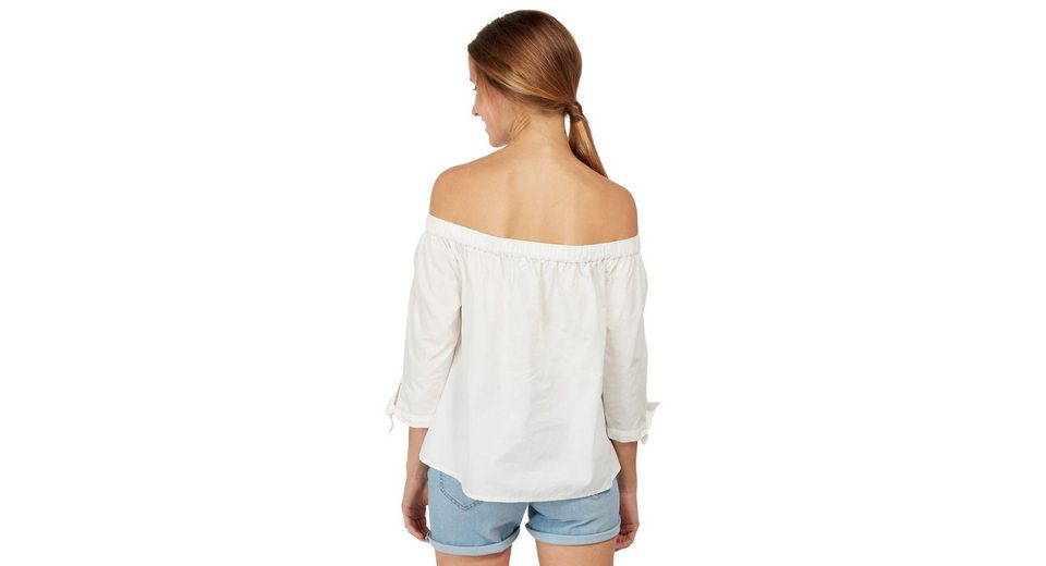 Tom Tailor Denim Shirtbluse Carmen-Bluse mit Knoten-Detail Echt 9jbI91Ef