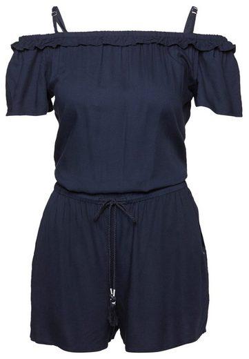 Tom Tailor Denim Shorts Jumpsuit With Carmen Neckline