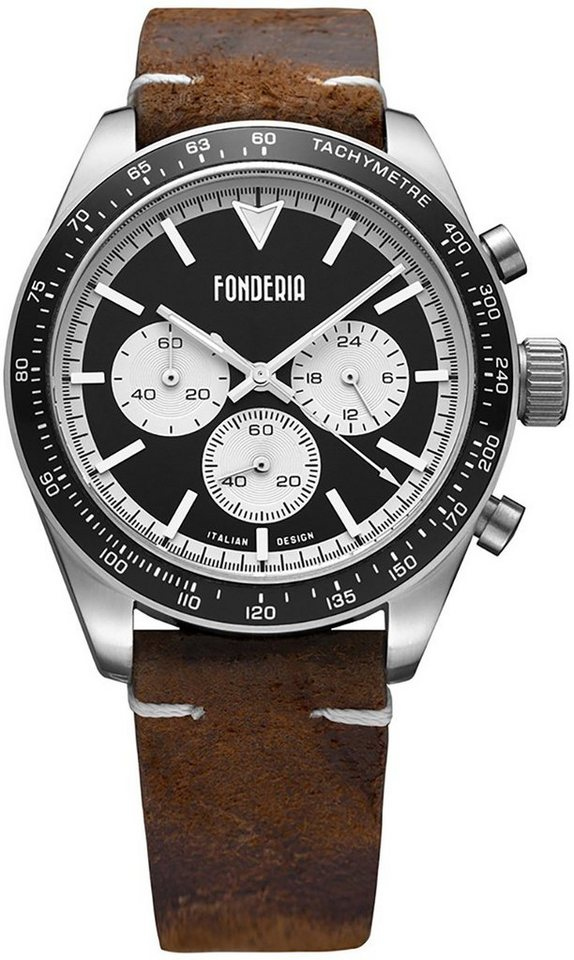 fonderia -  Chronograph »UAP9A011UNW  Herren Uhr P-9A011UNW Leder«, (Analoguhr), Herren Armbanduhr rund, groß (ca. 40mm), Lederarmband braun