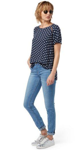 Tom Tailor Denim Shirtbluse mit Palmen und Mesh-Details