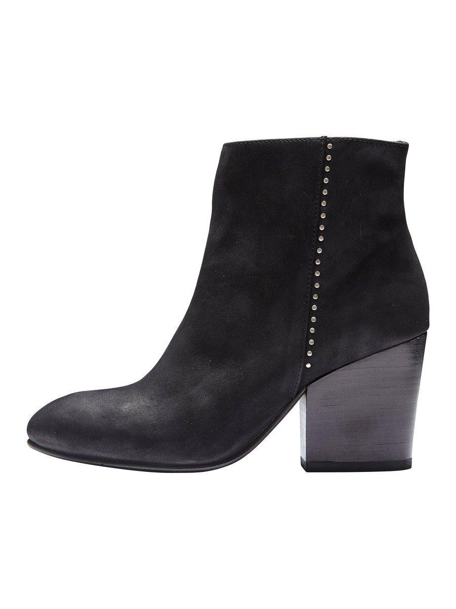 Selected Femme Nubuk Lederstiefel online kaufen  Black