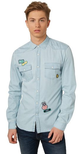 Tom Tailor Denim Long-sleeved Shirt Made Of Denim With Patches