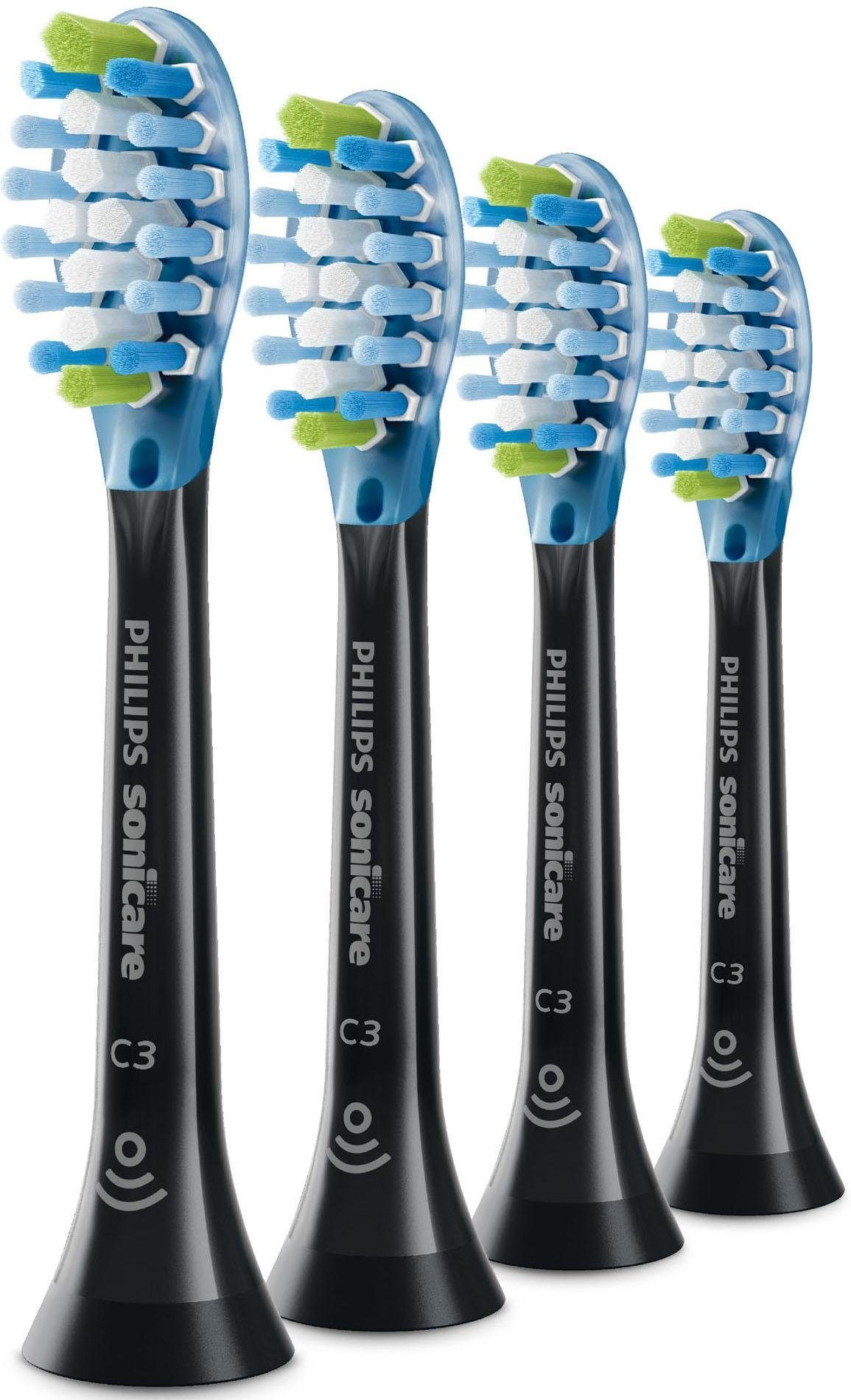 Philips Sonicare Ersatzbürsten für DiamondClean Smart HX9044/33, Premium Plaque Defense, 4er Pack, schwarz