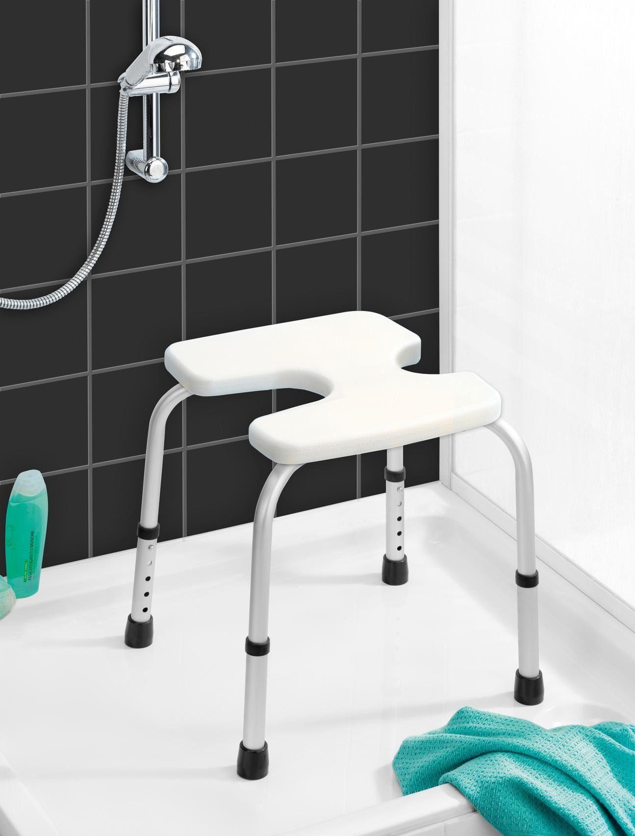 WENKO Hygienehocker Secura, belastbar bis 120 kg, höhenverstellbar